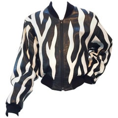 Vintage Michael Hoban for North Beach Zebra Leather Bomber Jacket