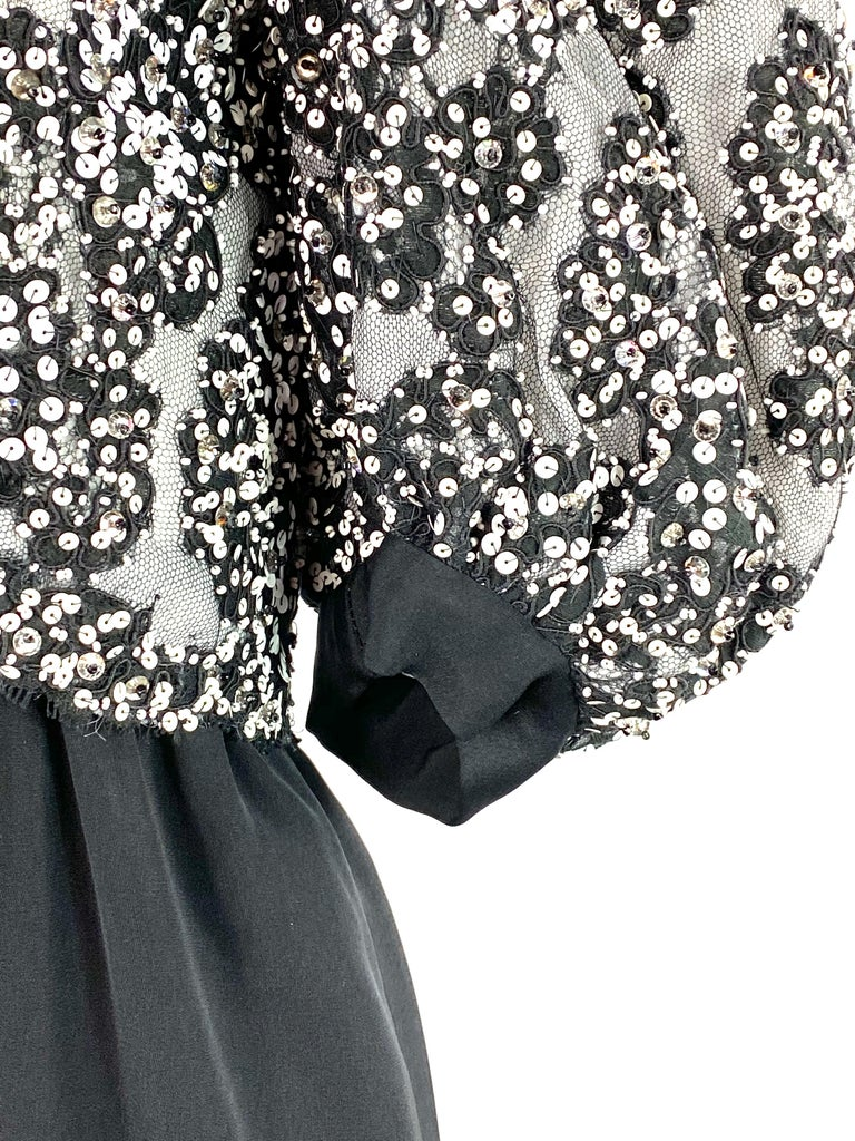 Vintage MICHAEL NOVARESE Black and White Sequin Silk Evening Dress Size Small For Sale 6
