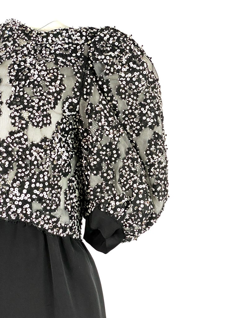 Vintage MICHAEL NOVARESE Black and White Sequin Silk Evening Dress Size Small For Sale 7
