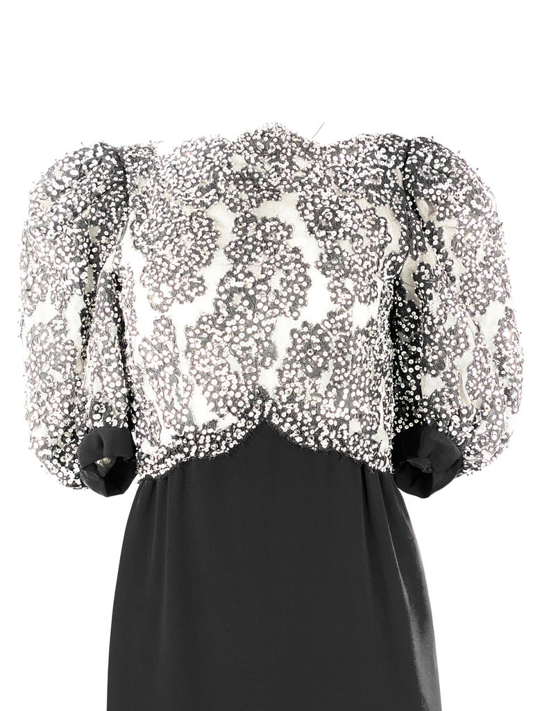 """Vintage MICHAEL NOVARESE Black and White Sequin Silk Evening Dress Size Small  Product detail: Black silk skirt Black mesh with white sequin Rear zip and hook closure Balloon short sleeves, measure 14"""" long from the shoulder"""