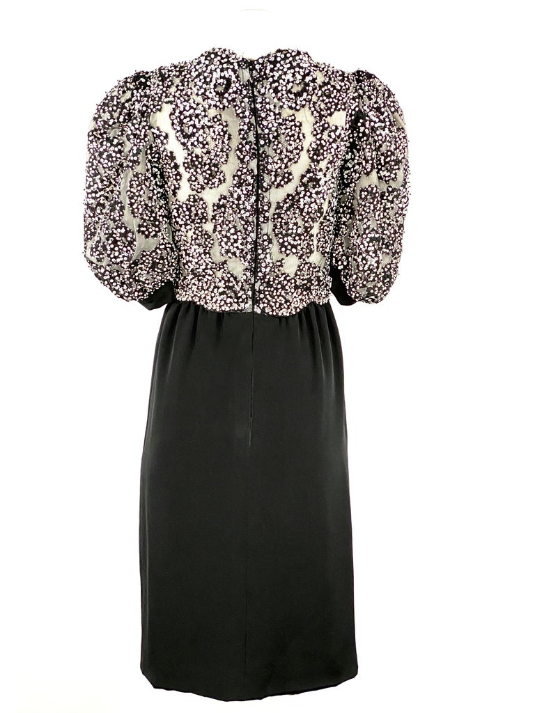 Vintage MICHAEL NOVARESE Black and White Sequin Silk Evening Dress Size Small For Sale 3
