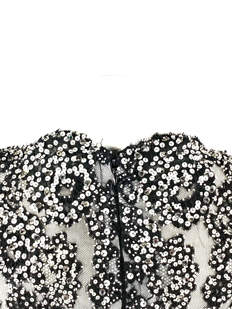 Vintage MICHAEL NOVARESE Black and White Sequin Silk Evening Dress Size Small For Sale 5