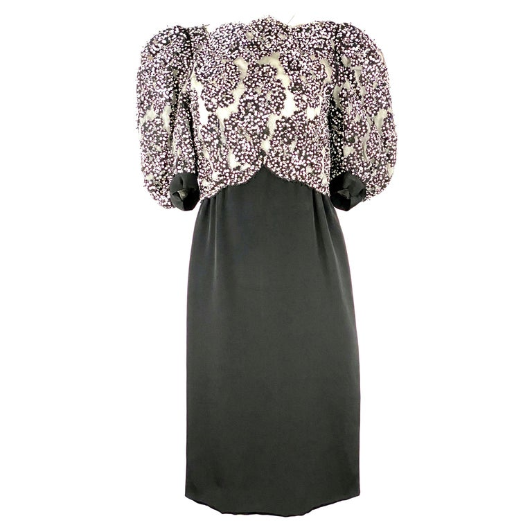 Vintage MICHAEL NOVARESE Black and White Sequin Silk Evening Dress Size Small For Sale