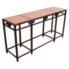 """Vintage Michael Taylor """"Far East"""" Console Table for Baker in Oak and Burl Inlay"""