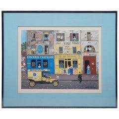 Vintage Michel Delacroix French Cityscape Lithograph Print Cafe Cremerie