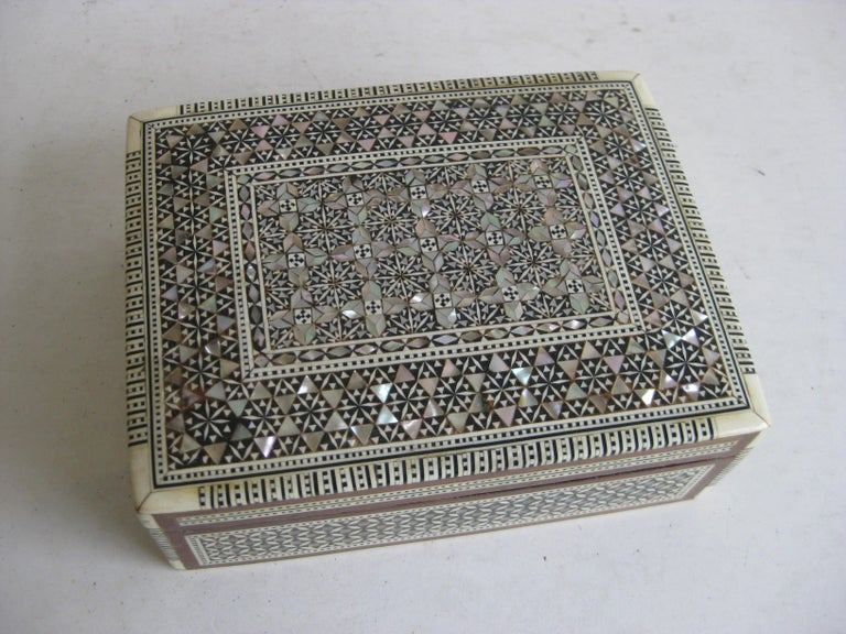 Moorish Vintage Micro Mosaic Marquetry Mother of Pearl Inlay Wooden Jewelry Trinket Box For Sale