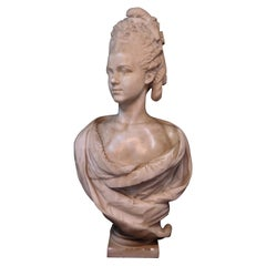 Vintage Mid-19th Century Continental Figural Marble Portrait Bust