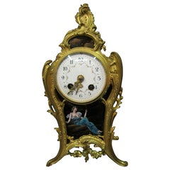 Vintage Mid-19th Century French Gilt Bronze and Enamel Boudoir Clock