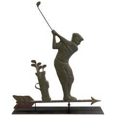 Vintage Mid-20th Century Golfer Weathervane with Great Surface
