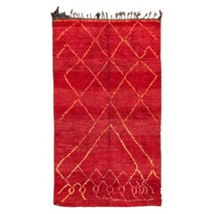 Vintage Mid-20th Century Red Tribal Moroccan Wool Rug