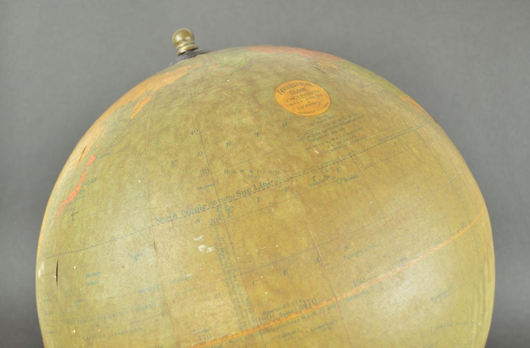 Painted Vintage Midcentury Globe by Johnston & Bacon, circa 1950 For Sale