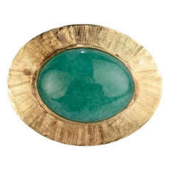 Vintage Midcentury 14 Karat Gold and Jade Brooch or Pin