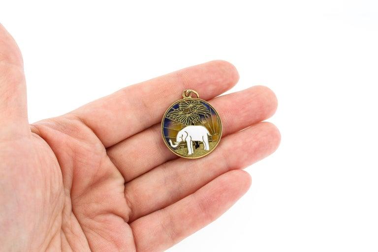 Modern Vintage Midcentury 18 Karat Gold Plique-à-Jour Enamel Elephant Pendant Charm For Sale
