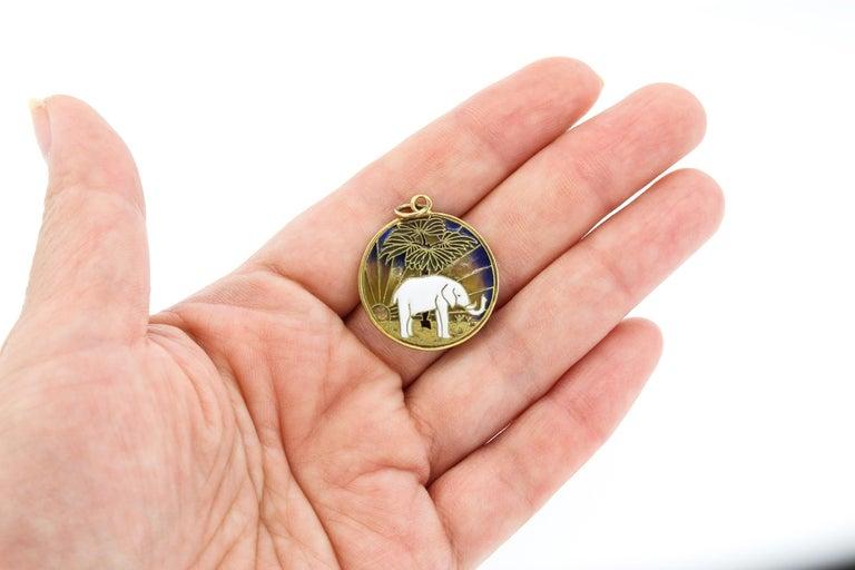 Vintage Midcentury 18 Karat Gold Plique-à-Jour Enamel Elephant Pendant Charm In Fair Condition For Sale In New York, NY