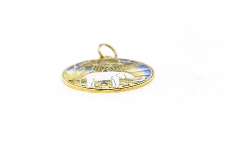 Women's or Men's Vintage Midcentury 18 Karat Gold Plique-à-Jour Enamel Elephant Pendant Charm For Sale