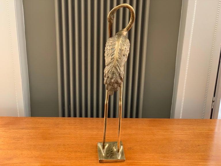 Vintage Midcentury 1970s Decorative Brass Crane Sculpture Hollywood Regency For Sale 5