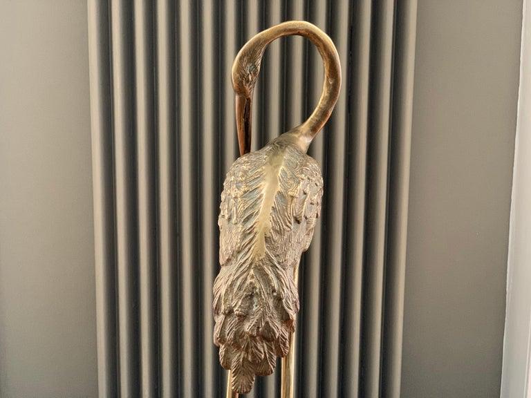 Vintage Midcentury 1970s Decorative Brass Crane Sculpture Hollywood Regency For Sale 6