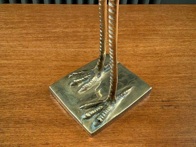 French Vintage Midcentury 1970s Decorative Brass Crane Sculpture Hollywood Regency For Sale