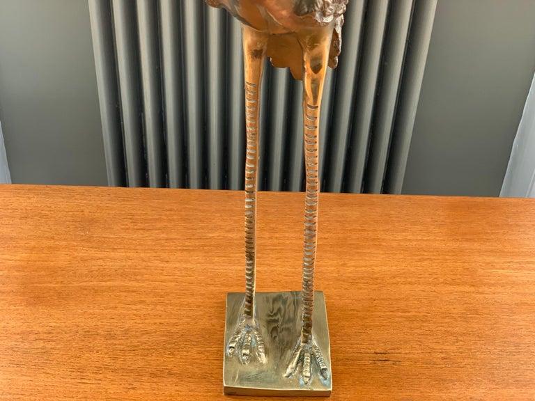 Vintage Midcentury 1970s Decorative Brass Crane Sculpture Hollywood Regency For Sale 1