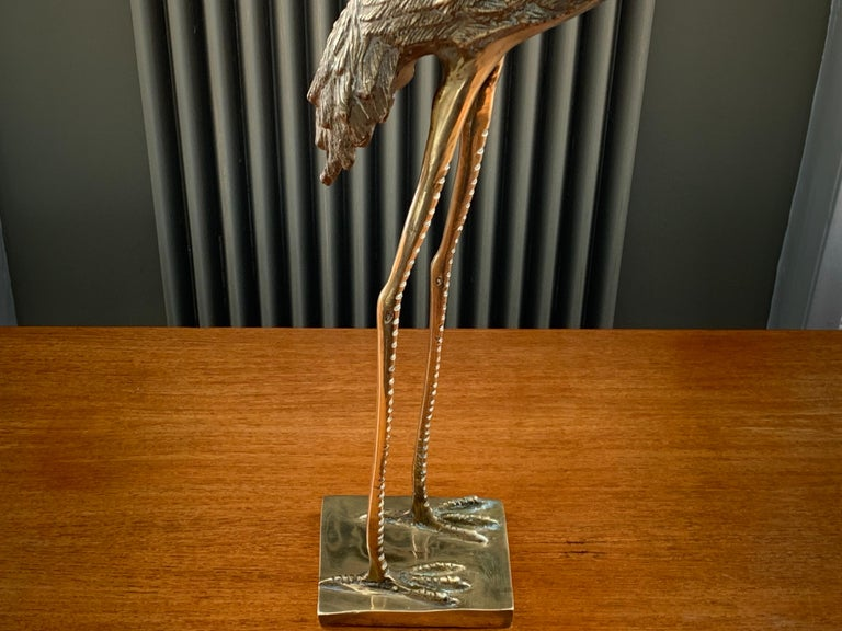 Vintage Midcentury 1970s Decorative Brass Crane Sculpture Hollywood Regency For Sale 4
