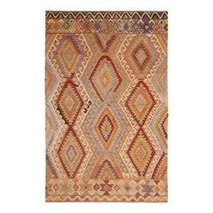Vintage Midcentury Antalya Diamond Beige-Brown and Blue Wool Kilim Rug