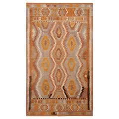 Vintage Midcentury Antalya Geometric Orange and Blue Wool Kilim Rug