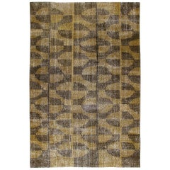 Vintage Midcentury Art Deco Bauhaus Style Rug in Black and Yellow Color