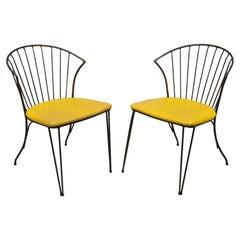 Vintage Midcentury Arthur Umanoff Paul McCobb Style Iron Side Chairs, a Pair