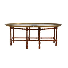 Vintage Midcentury Baker Faux Bamboo Brass Coffee Table