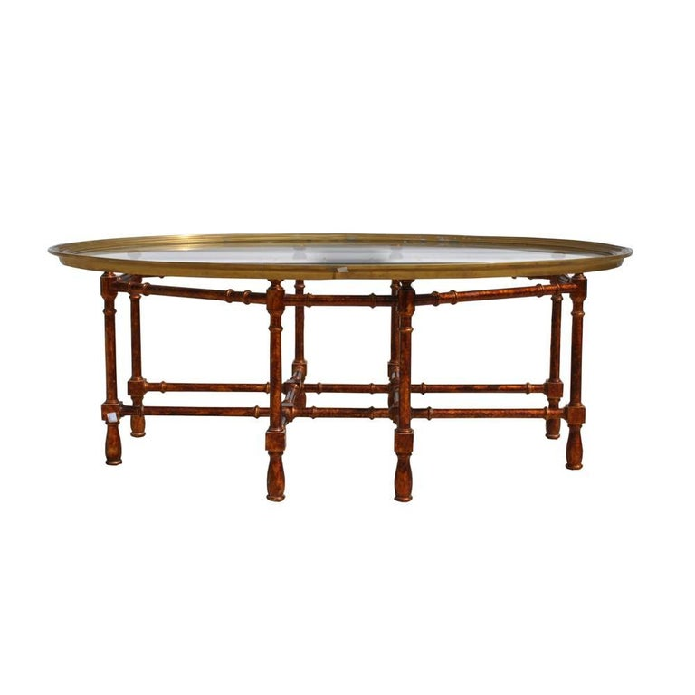 Italian Gold Gilt Iron And Glass Faux Bamboo Metal Square: A Midcentury Faux Bamboo Gilded Metal Coffee Table With