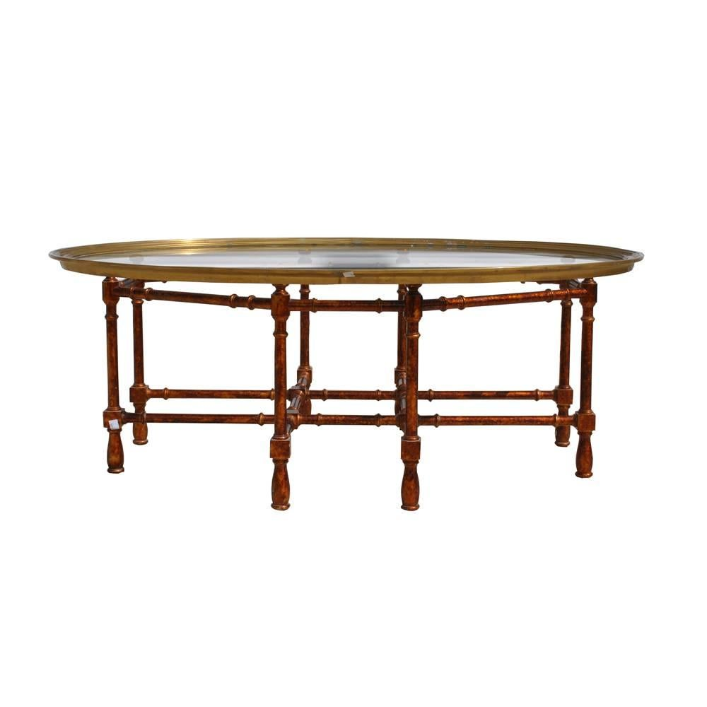 Vintage Midcentury Baker Faux Bamboo Brass Coffee Table For Sale