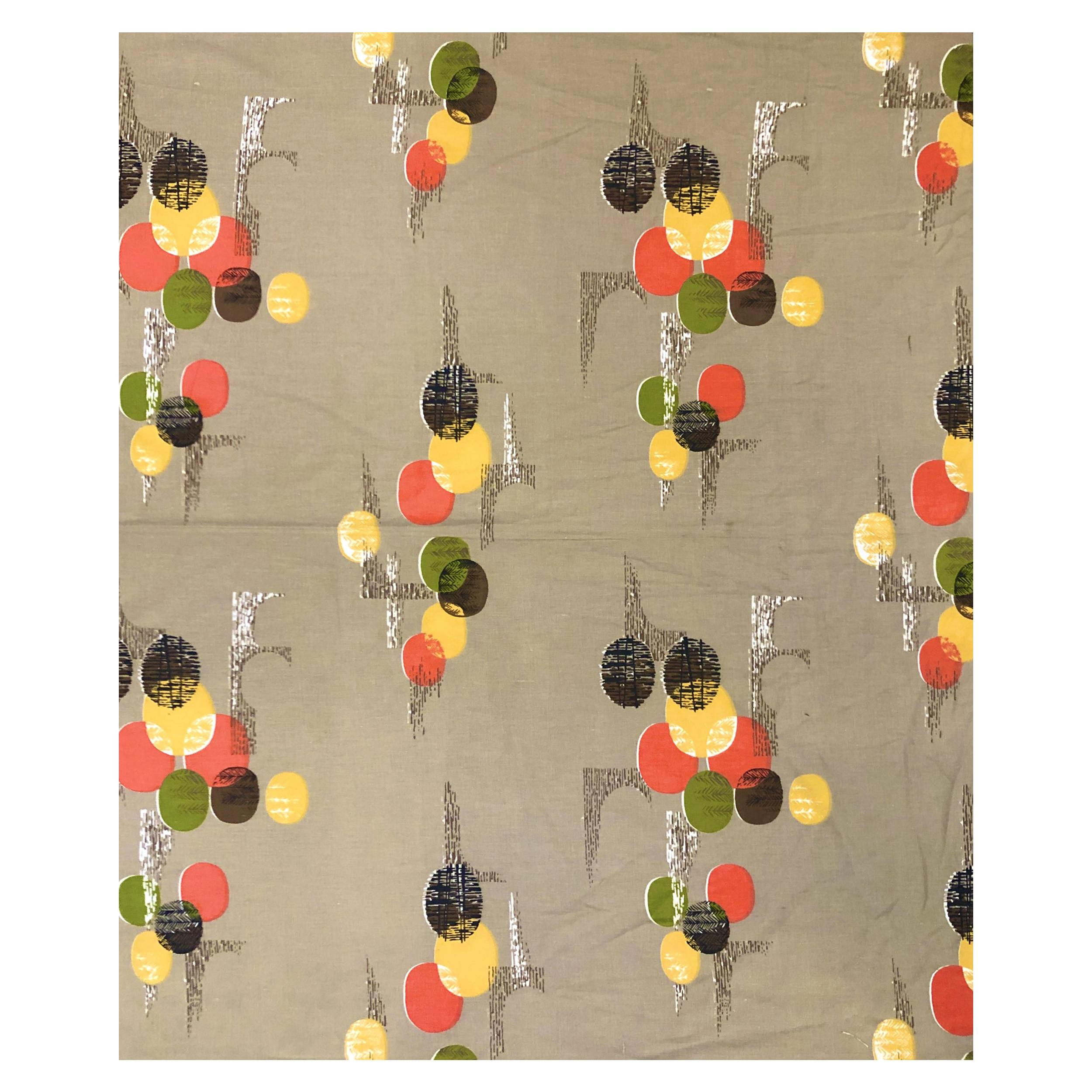 Vintage Mid Century Barkcloth with Abstract Woodland Design