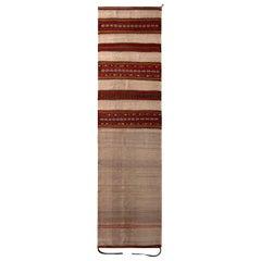 Vintage Midcentury Beige Brown and Red Wool Kalat Persian Kilim Runner