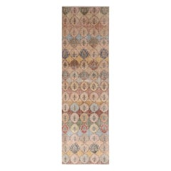 Vintage Midcentury Beige Rainbow Wool Runner with Floral Patterns