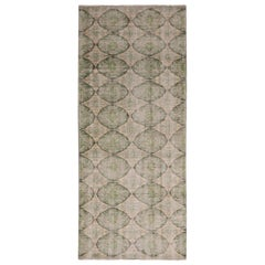 Vintage Mid Century Blue-Gray and Green Geometric Wool Rug