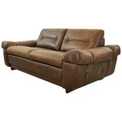 Vintage Midcentury Brown Leather Sofa, 1960s