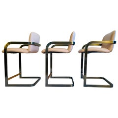Vintage Midcentury Cantilever Stools in the Milo Baughman Style by D.I.A. 1980's
