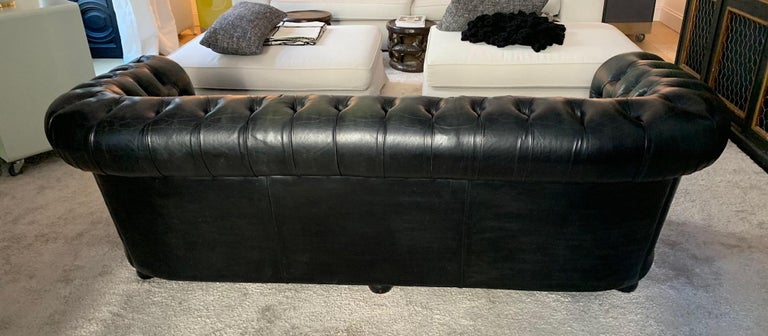Vintage Midcentury Chesterfield Leather Sofa Dark Green For Sale 5