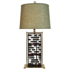 Vintage Mid-Century Chinese Abacus Lamp with Brass Frame