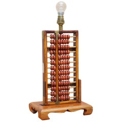 Vintage Midcentury Chinese Rosewood Abacus Lamp Fully Stamped Original Fittings
