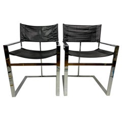 Vintage Mid-Century Chrome & Leather Flat Bar Director Style Arm Chairs, a Pair