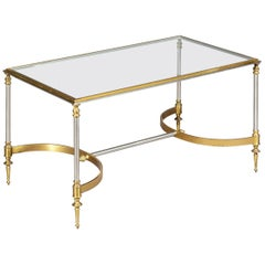 Vintage Midcentury Coffee Table of Maison Jansen Style in Steel and Gold