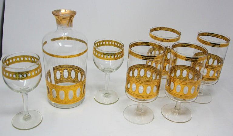Mid-Century Modern Vintage Midcentury Culver Antigua Barware Cocktail Set For Sale