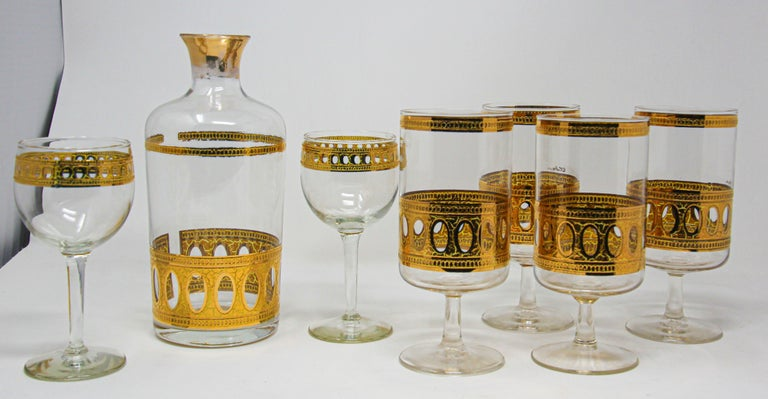 American Vintage Midcentury Culver Antigua Barware Cocktail Set For Sale