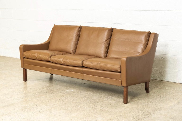 Mid-Century Modern Vintage Midcentury Danish Modern Brown Leather Three-Seat Sofa, 1960s For Sale