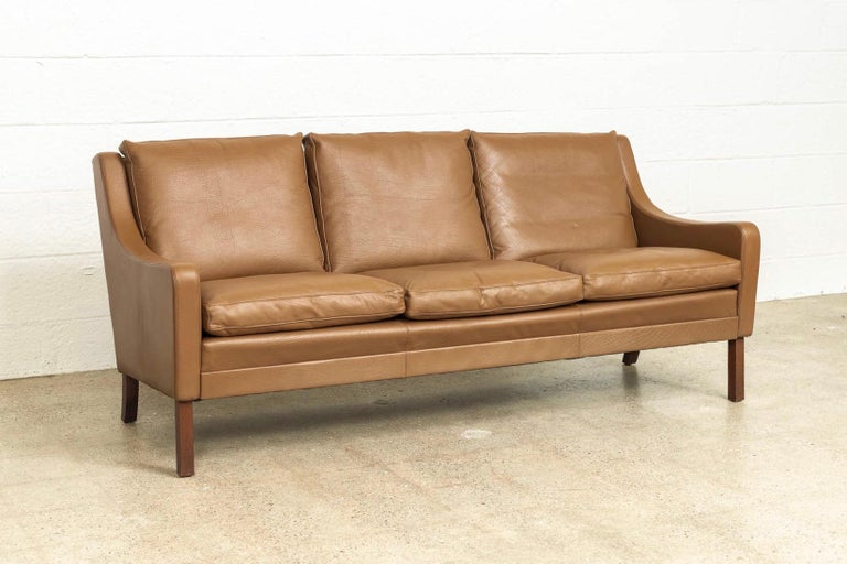 Vintage Midcentury Danish Modern Brown Leather Three-Seat Sofa, 1960s In Good Condition For Sale In Detroit, MI