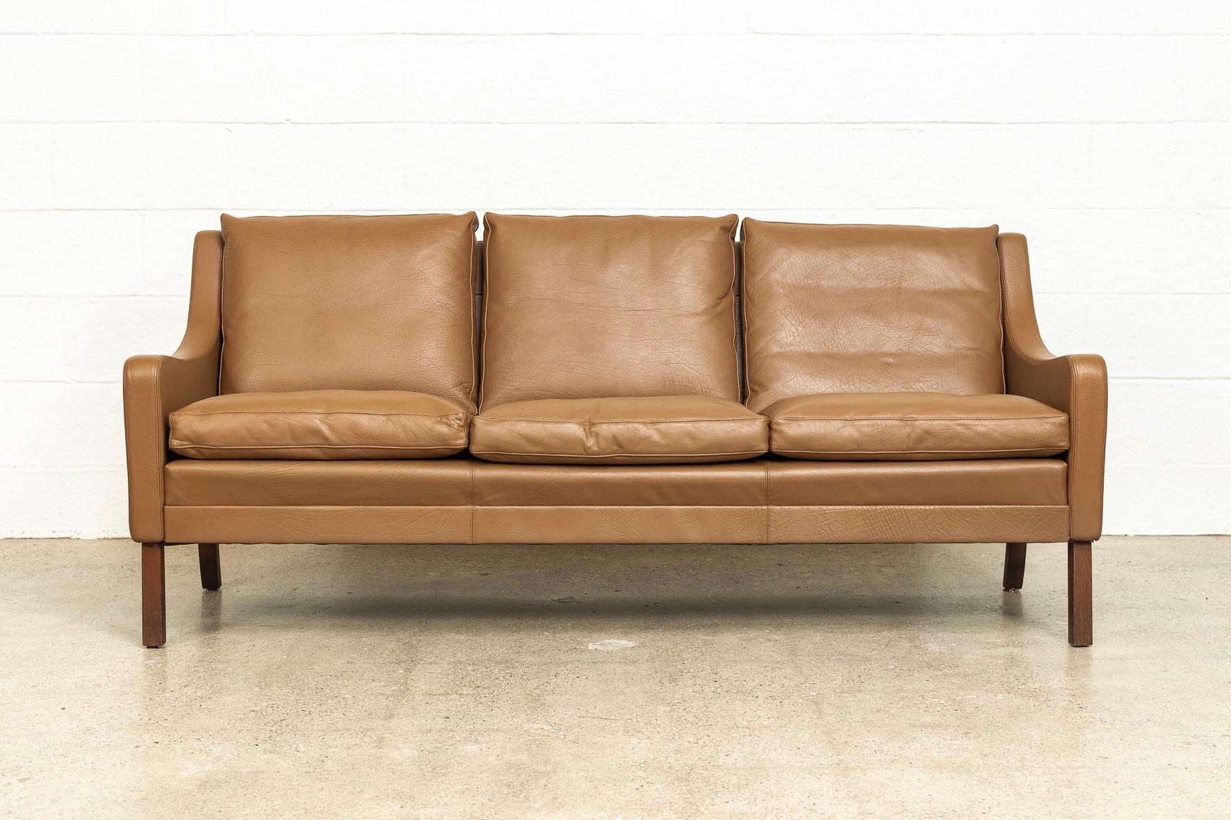 Vintage Midcentury Danish Modern Brown Leather Three Seat Sofa 1960s