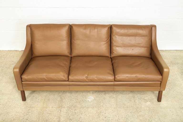 Vintage Midcentury Danish Modern Brown Leather Three-Seat Sofa, 1960s For Sale 2