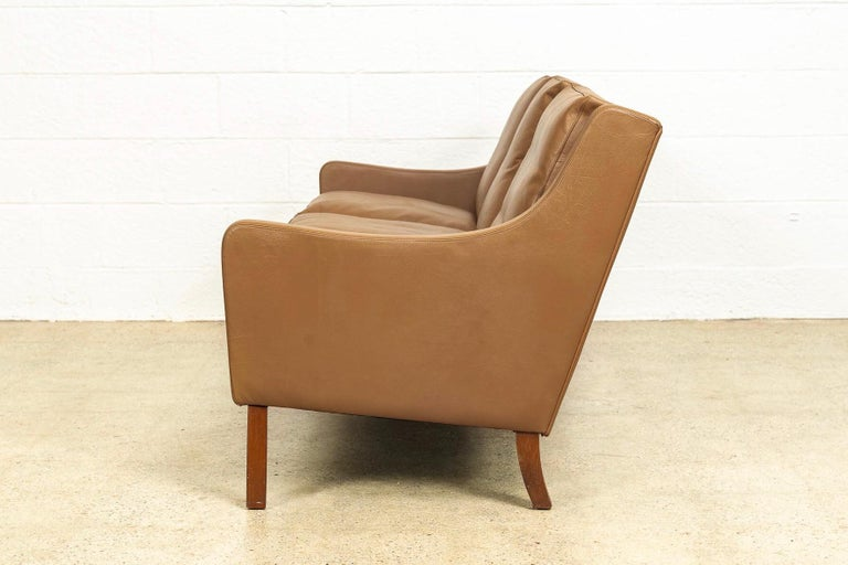 Vintage Midcentury Danish Modern Brown Leather Three-Seat Sofa, 1960s For Sale 3