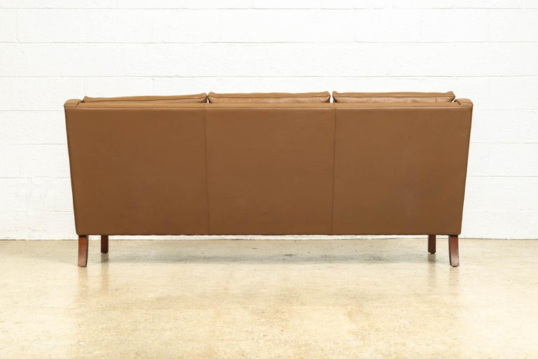 Vintage Midcentury Danish Modern Brown Leather Three-Seat Sofa, 1960s For Sale 4